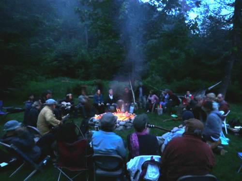 Hidden River Songwriting Camp - fire song circle