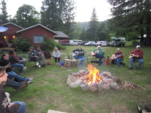 Hidden River Songwriting Camp fire song circle